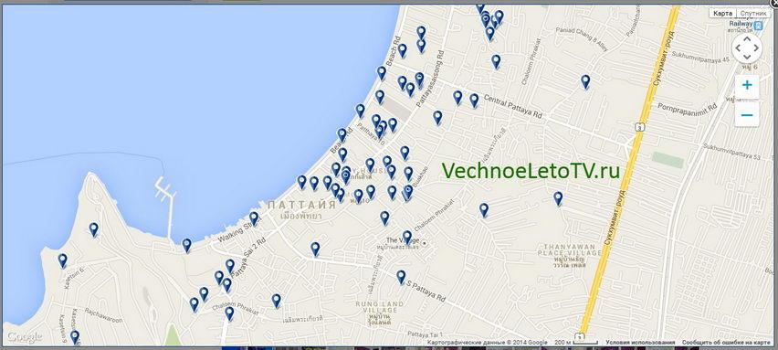 Booking Google карта - забронировать отель в Тайланде