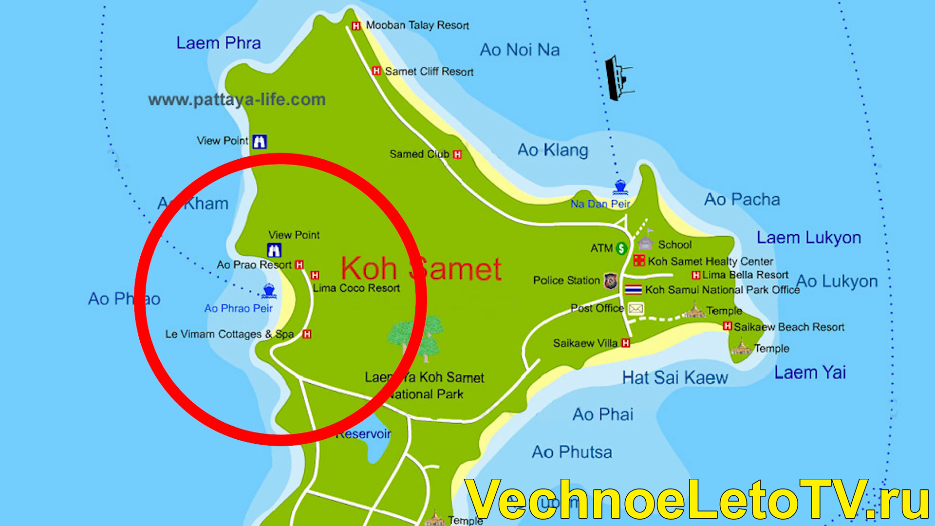 Карта острова Самет в Тайланде